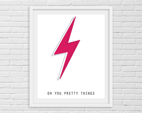Oh You Pretty Things Pink - David Bowie A4 Print