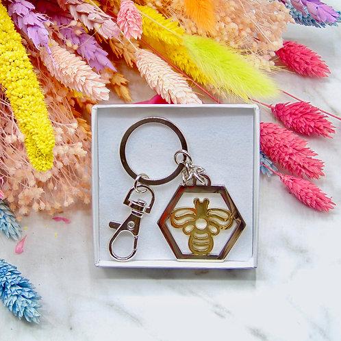 Silver Hexagon Bee Keychain