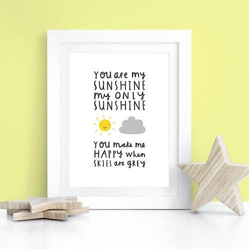 You Are My Sunshine Lyrics A4 Print
