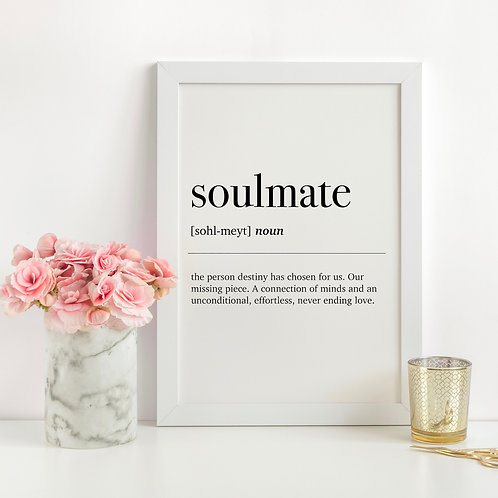 Soulmate Dictionary Definition A4 Print