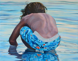 """Water Play 30""""x 24"""" acrylic painting"""