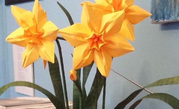 Origami Narcissus in pot