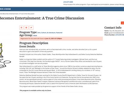 ZOOM True Crime Panel Went well!