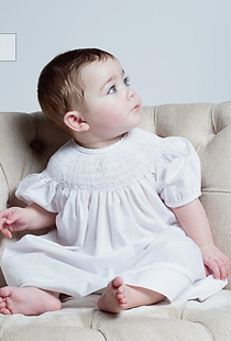 Bishop dress smocked cross with pearls #
