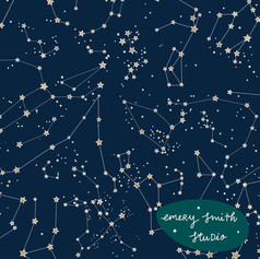 Constellations (navy with  gold effect stars)