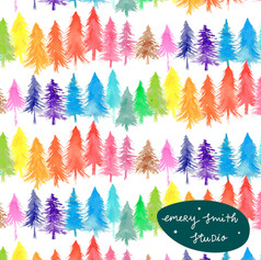 Rainbow Watercolour Trees