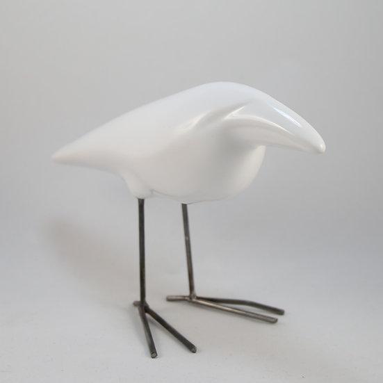 Little White Ceramic Crow