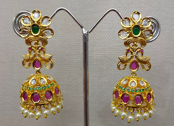 CZ WITH UNCUT JHUMKA