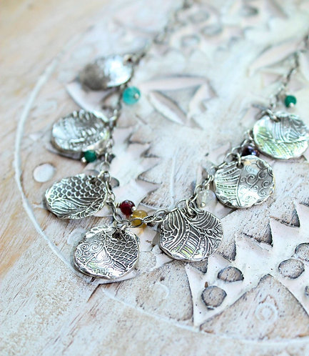 Sterling Silver Coin Necklace with Gemstones