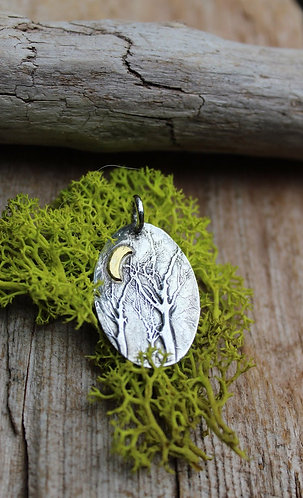 Sterling Silver and Gold Enchanted Forest Pendant