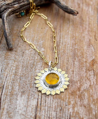 Sterling and Gold Sun Salutation Necklace with Amber Stone