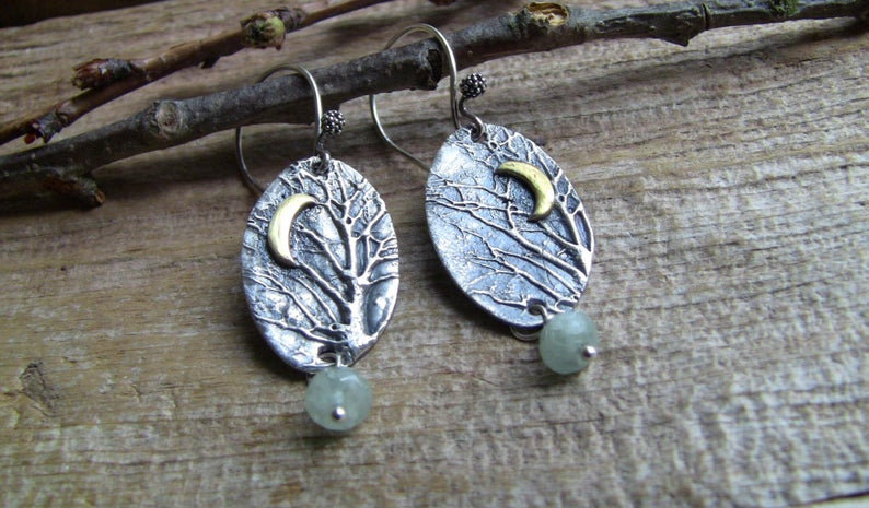 Sterling Silver Enchanted Forest Earrings with Aquamarine