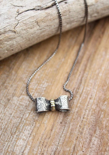 """Sterling Silver and Gold """"Be Present"""" Bow Necklace"""
