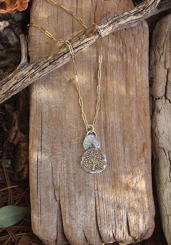 Sterling Silver and Gold Tree of Life Double Charm Necklace