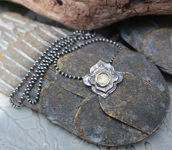 Sterling and Gold Mandala Necklace