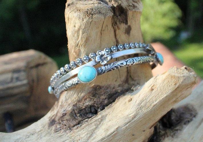 Sterling Silver Pocket Full of Posies Bracelets, Floral Bracelets