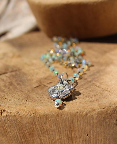 Opal Beaded Necklace with Handmade Sterling and Gold Flower Charm