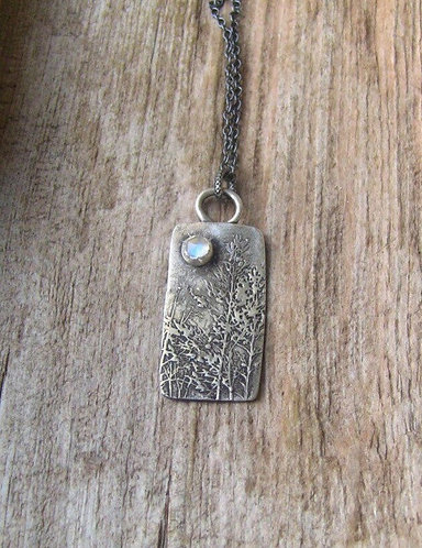 Sterling Silver Woodland Bar Necklace with Moonstones