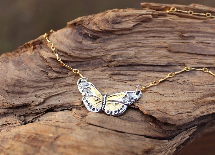 Sterling Silver and Gold Butterfly Necklace