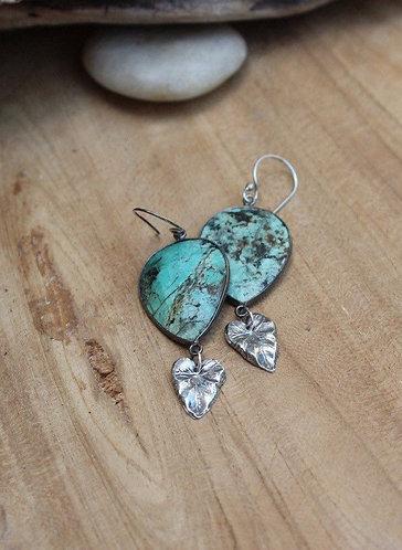 Sterling Silver African Turquoise Jasper Earrings