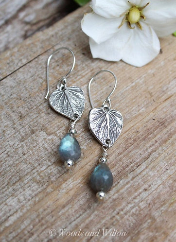 Sterling Silver Angelica Leaf Earrings with Labradorite