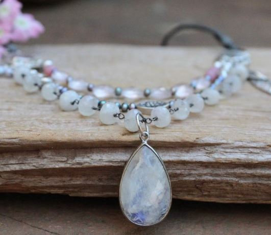 Multi Layered Artisan Necklace with Moonstones, Grey Pearls and Rose Quartz