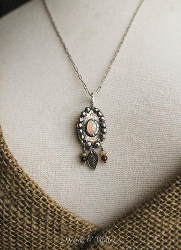 Sterling Silver Ethiopian Opal Necklace with Mint Leaf and Garnets