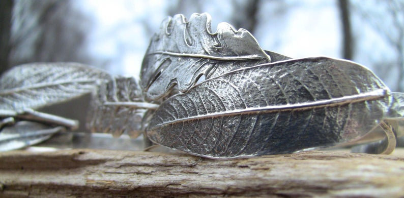 CLASSIC Language of Leaves Sterling Cuff Bracelets