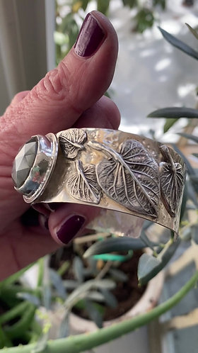 Sterling Silver Statement Cuff with Labradorite and Angelica Leaves