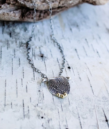 Sterling Silver and Gold Botanical Tapestry Necklace