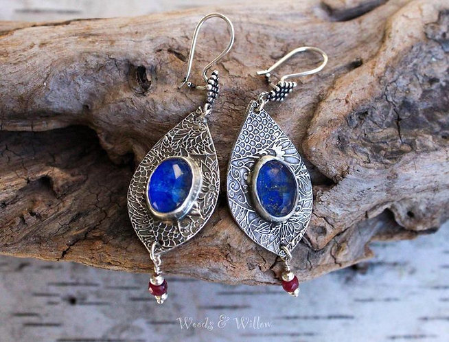 Sterling Silver Lapis Doublet and Garnet Moroccan Earrings