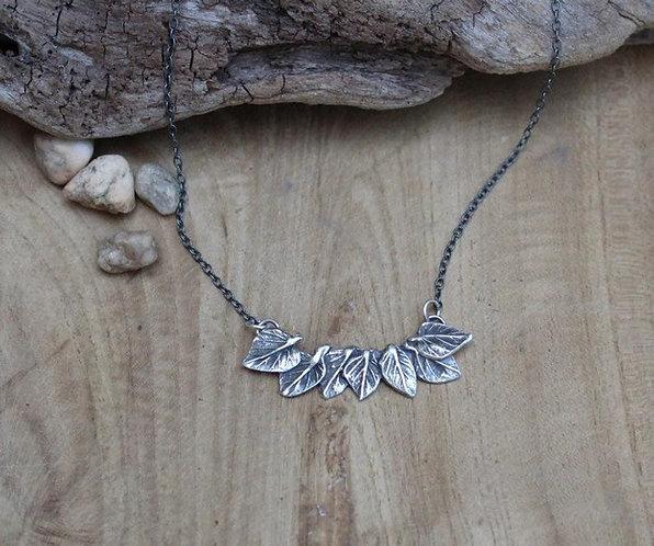 Sterling Silver Leaf Spray Necklace