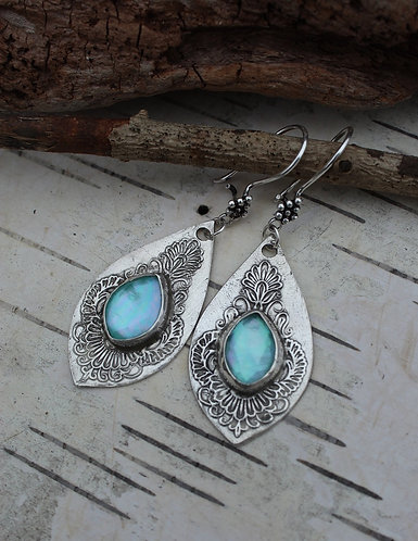 Sterling Silver and Turquoise Marquise Earrings