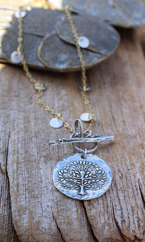 Sterling Silver Tree of Life Toggle Necklace, Silver and Gold Necklace, Tree of