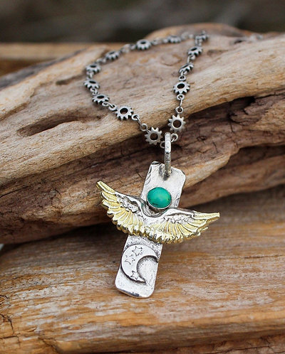 Sterling Silver and Gold Angel Wing Cross Necklace