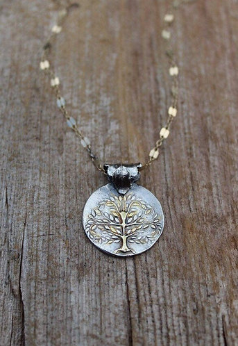 Sterling Silver and Gold Tree of Life Necklace