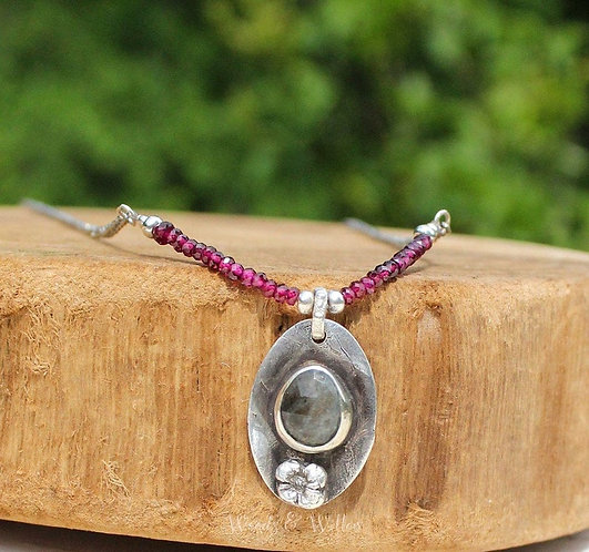 Sterling Silver Floral Necklace with Rubies and Moss Aquamarine