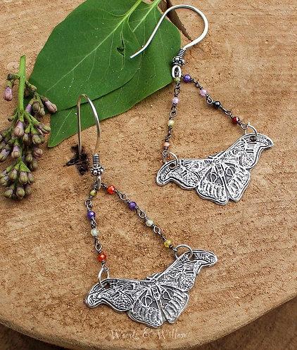 Sterling Silver Butterfly Earrings with Multi Gemstone Chain