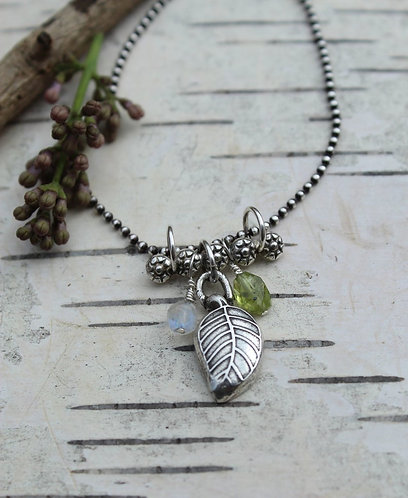 Sterling Silver Leaf and Flower Bar Necklace with Moonstone and Peridot