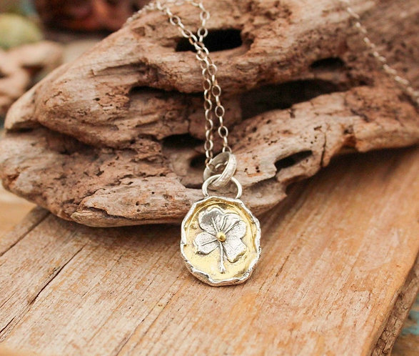 Sterling Silver and Gold Four Leaf Clover Necklace