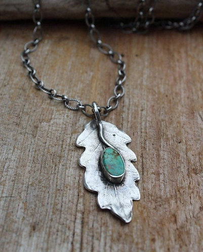 Sterling Silver Oak Leaf Necklace with Turquoise Stone