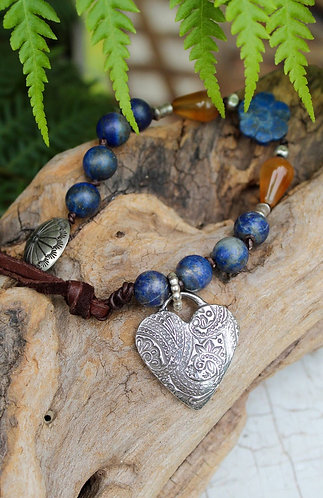 Sterling SilverHeart Charm Bracelet with Lapis and Amber Beads