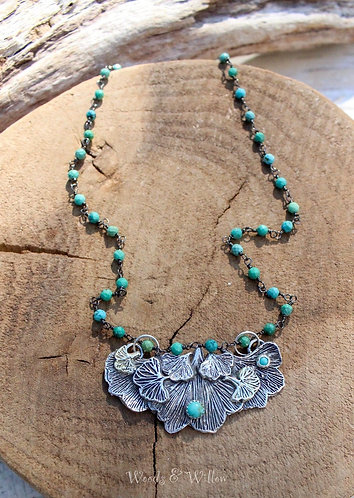 Sterling and Gold Ginkgo Leaves and Turquoise Necklace, Leaf Necklace