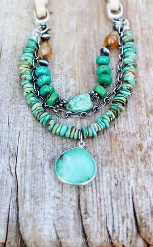 Desert Sunset Necklace with Turquoise and Chrysoprase Stones