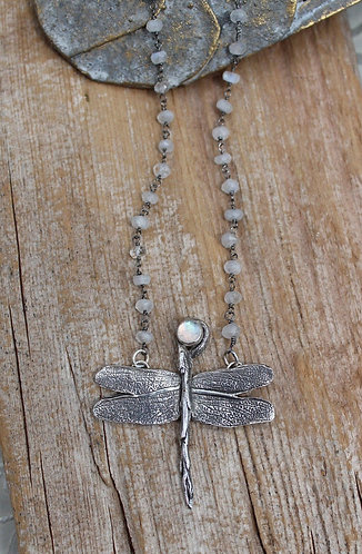 Sterling Silver and Rainbow Moonstone Dragonfly Necklace