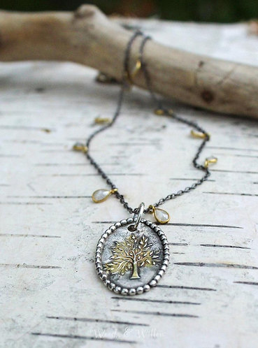 Sterling Silver and Gold Tree of Life Necklace with White Moonstones