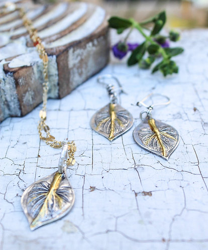 Sterling Silver and Gold Angelica Leaf Earrings