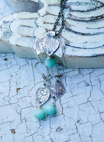 Peruvian Opal Necklace with Lotus Blossom