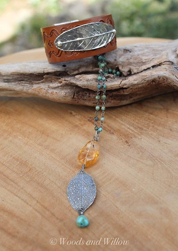 Silver Leaf Necklace on Turquoise Beaded Chain with Amber Stone