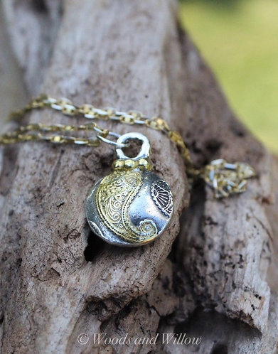 Sterling Puffed Paisley Silver and Gold Necklace